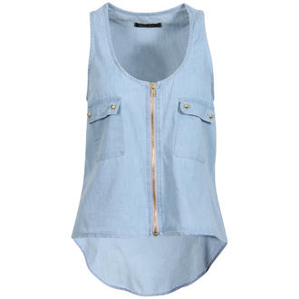 View Item Denim Sleeveless Dip Hem Top